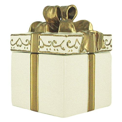 Gold Gift Box Cookie Jar