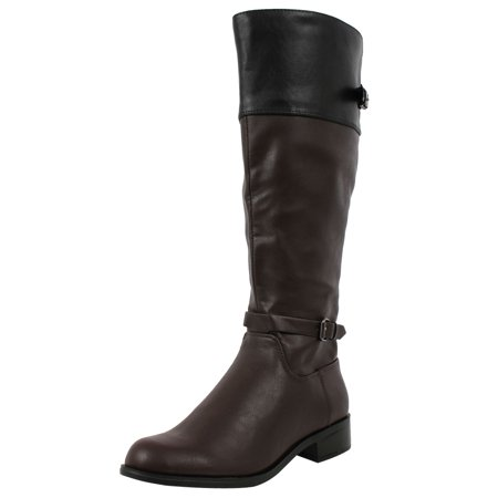 Women's Jade Faux Leather Two Tone Buckle Knee High Riding Boot Brown/Black 6 M US