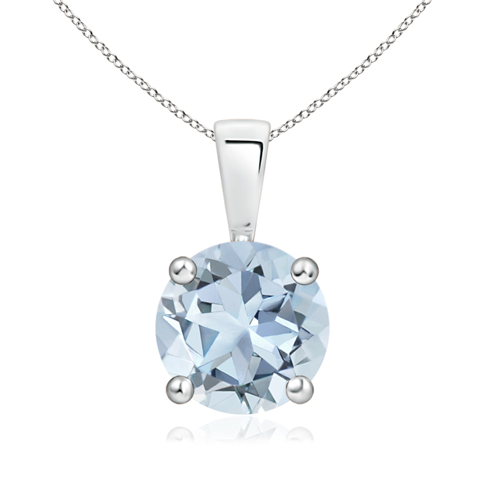 March Birthstone Pendant Necklaces Prong Set Round Aquamarine Solitaire Pendant in .925 Sterling Silver (8mm Aquamarine)... by Angara.com