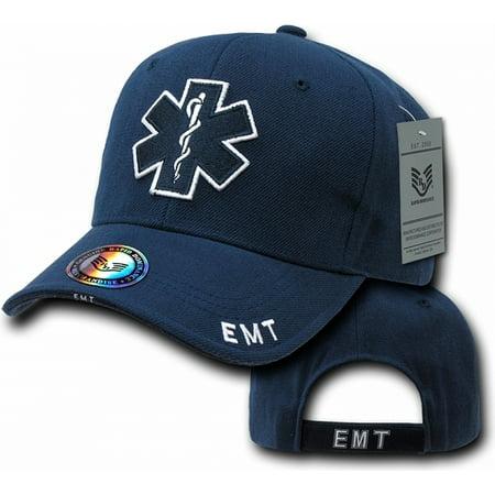 Beaded Cross Cap - RapDom EMT Cross Deluxe Law Enf. Mens Cap [Navy Blue - Adjustable]