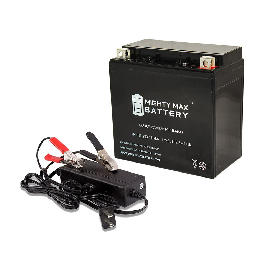 ETX14L 12V 2Amp Charger Mighty Max YTX14L-BS Battery Replaces STX14L-BS