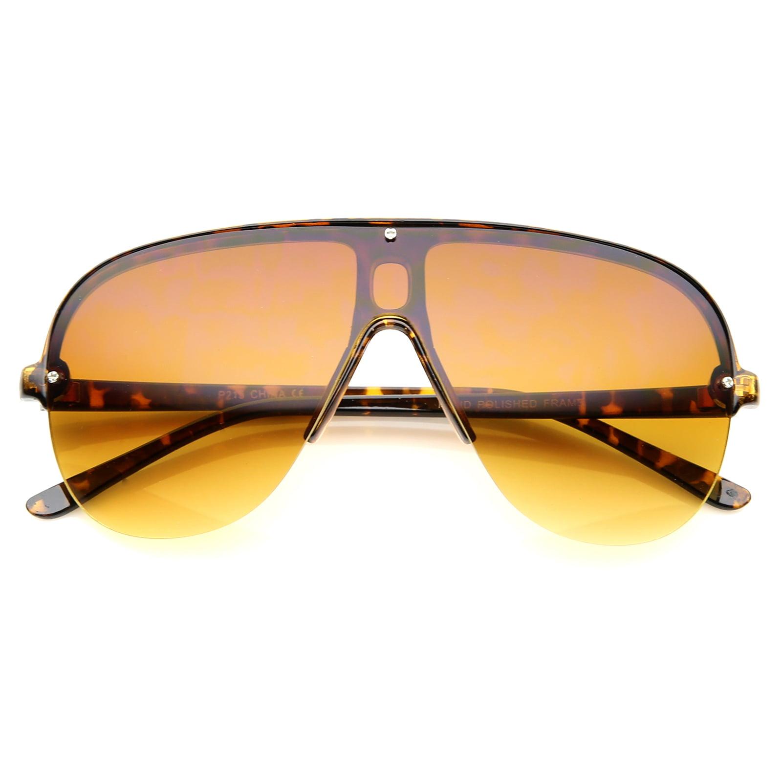sunglassLA - Oversize Flat Top Semi-Rimless Frame Shield Aviator Sunglasses - 70mm