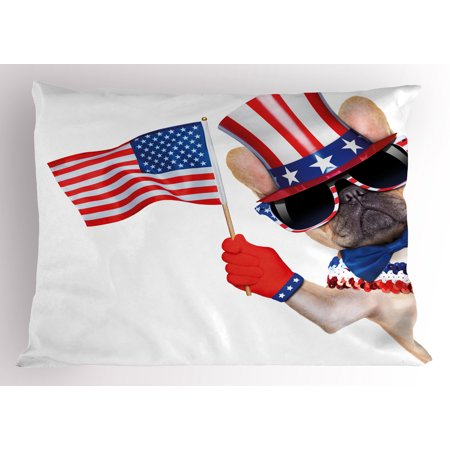 4th of July Pillow Sham Proud to be American Emblem Label Seal Inspirational Homeland Love Design, Decorative Standard Size Printed Pillowcase, 26 X 20 Inches, Blue and Red, by Ambesonne
