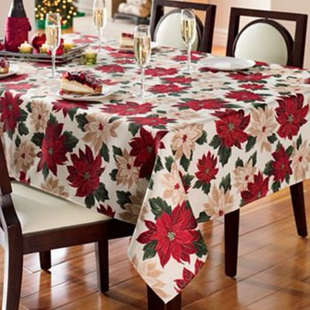 St Nicholas Square Poinsettia Flowers Tablecloth Fabric