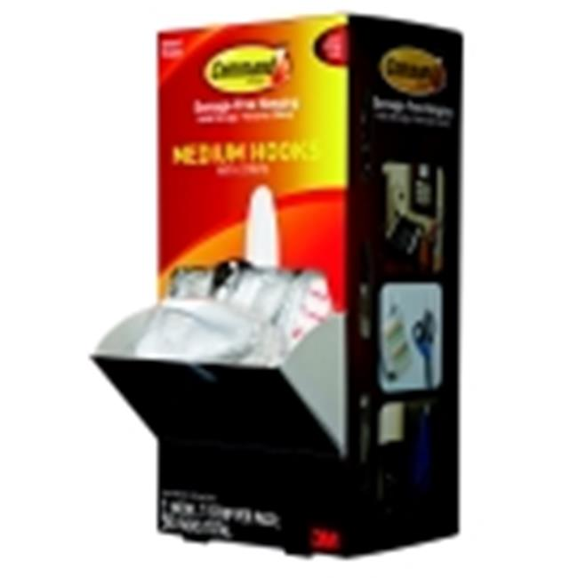 Command Designer Hook Trial Pack With Adhesive Strip, Medium Size, White, Pack - 50