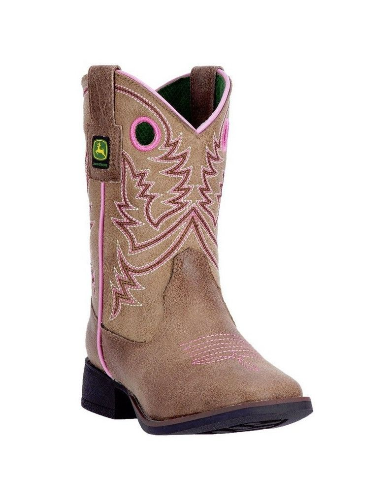 John Deere Western Boot Girl Kids Broad Toe Steel Shank Brown JD2021 by John Deere