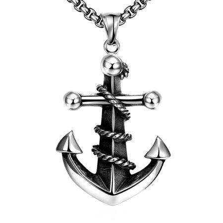 LEKANI GOMAYA Boat Anchor 316L Stainless Steel Men's Necklace Vintage -