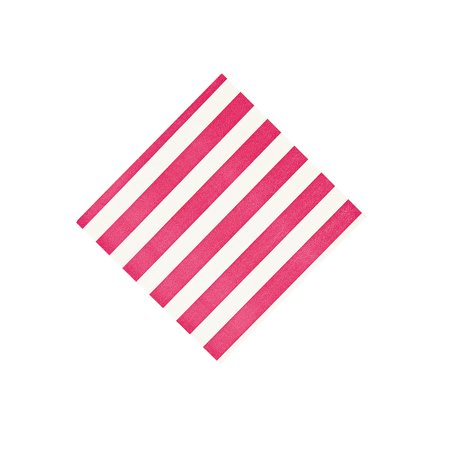Hot Pink Stripe Beverage Napkins - Party Supplies - Print Tableware - Print Napkins - 16 Pieces - Hot Pink Party Supplies