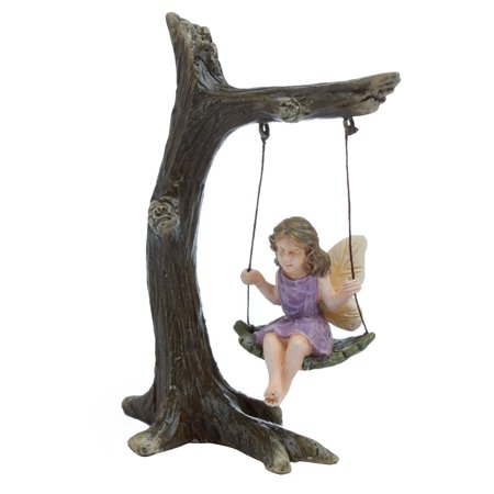 Fairy Garden Decor (Fairy Girl Tree Swing Mini Figurine Garden Accessory Miniature Dollhouse)