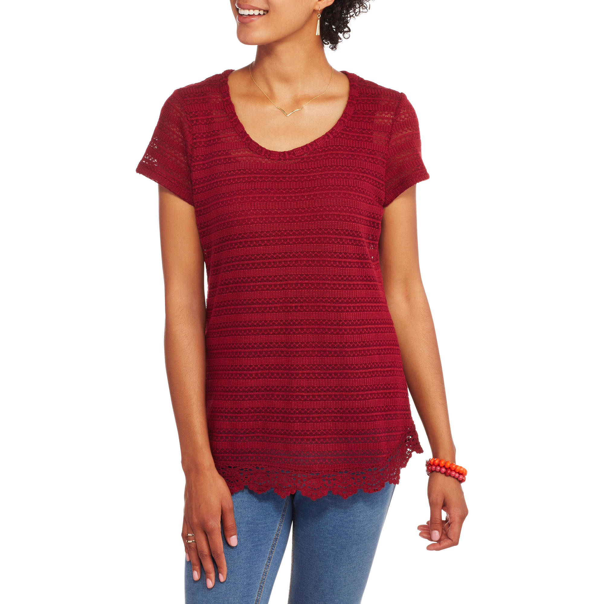Absolutely Famous Women's Striped 2fer Top with Crochet Trim