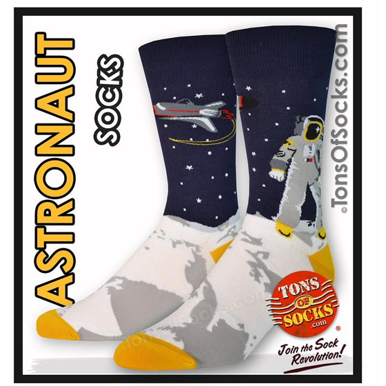 "9d7ebc656328a Sock It To Me - Men's ""One Giant Leap"" Socks (Astronaut ..."