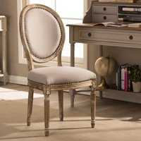 Clairette Wood Traditional French Accent Chair, Round
