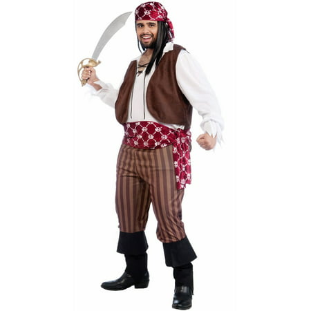 Adult Shipwrecked Pirate Plus Sized Costume - Shipwreck Costumes