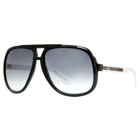 6f1e9ae6d4650 Gucci - GG 1622 S OVF LF Black White Unisex Oversize Aviator Sunglasses -  Walmart.com