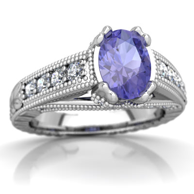 Tanzanite Antique Style Ring in 14K White Gold by