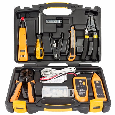 InstallerParts 15 Piece Network Installation Tool Kit – Includes LAN Data Tester, RJ11/45 Crimper, 66 110 Punch Down, 20-30 Gauge Wire Stripper, Utility Knife, 2 in 1 Screwdriver, and Hard