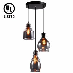 Rustic Black Metal Cage Shade Dining Room Pendant Light With 3 Lights