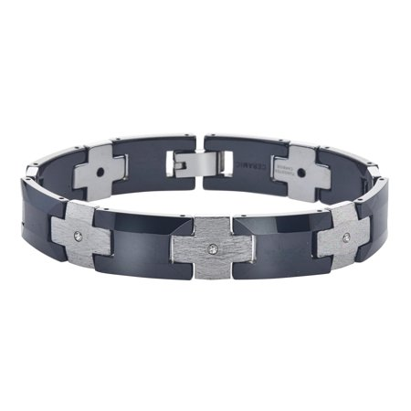 Mens Ceramic and Tungsten Diamond Bracelet (0.15 cts, H-I (Diamond Ceramic Bracelet)