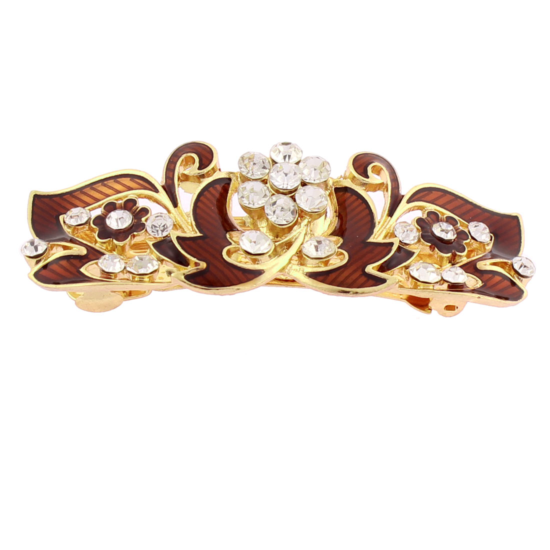 Lady Rhinestone Inlaid Flower Accent French Hair Barrette Clip Gold Tone Brown - image 2 of 2