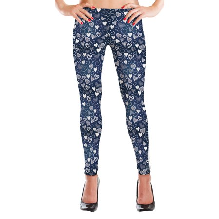 MyLeggings Buttersoft High Waistband Leggings White Hearts - Large