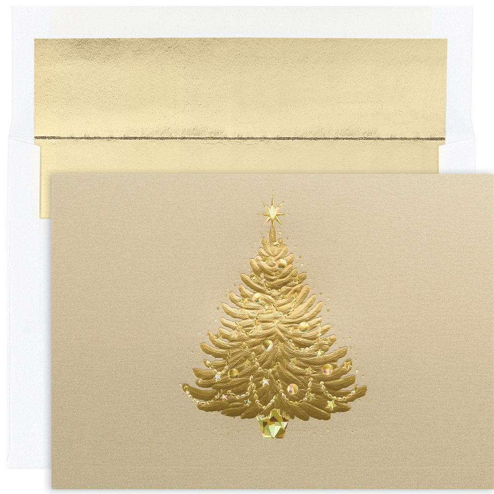 JAM Paper Christmas Card Set, Winter Tree Line Holiday Cards, 16 Cards & Envelopes/Pack