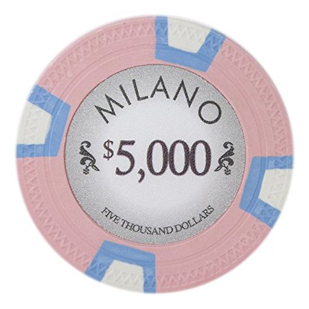 Claysmith Gaming Milano 10g Poker Chips, $5,000 Real Casino Clay, 50-pack