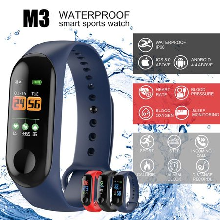 Wearable Waterproof Bluetooth Smart Band Watch Bracelet Wristband Color Screen Fitness Tracker Blood Pressure