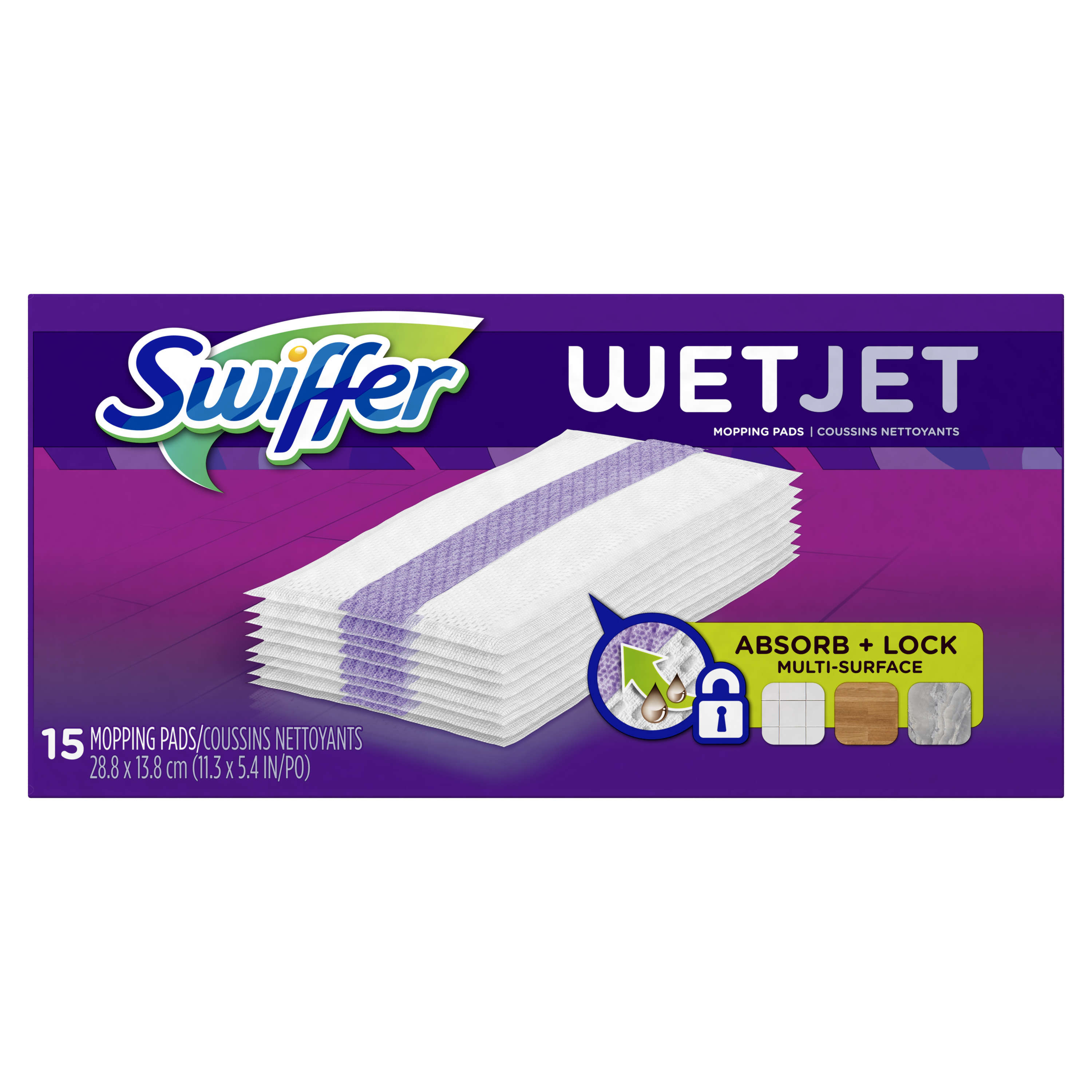 Swiffer WetJet Hardwood Floor Cleaner, Spray Mop Pad Refill, Multi Surface, 15 Count