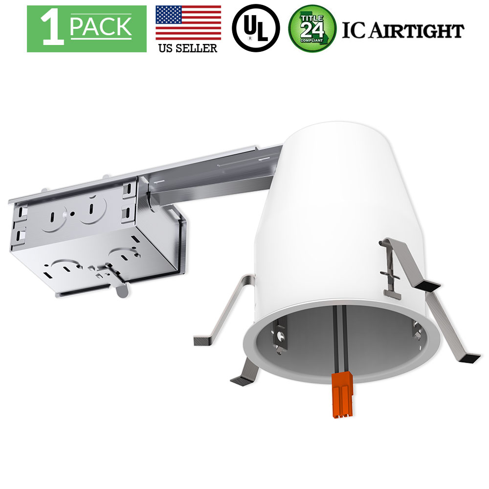 Sunco Lighting 6 Pack of 4 inch Remodel LED Can Air Tight IC Housing LED Recessed Lighting UL Listed and Title 24 Certified