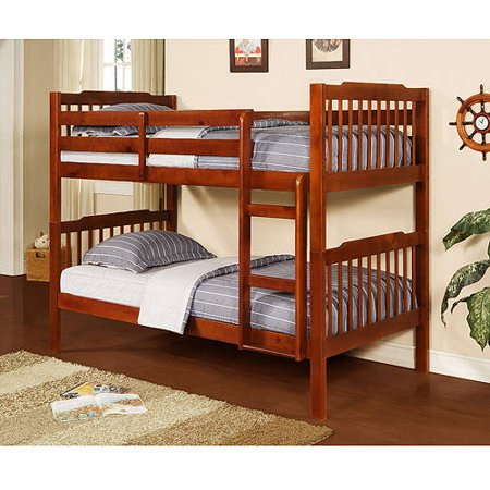 Elise Convertible Twin Over Twin Wood Bunk Bed Mahogany