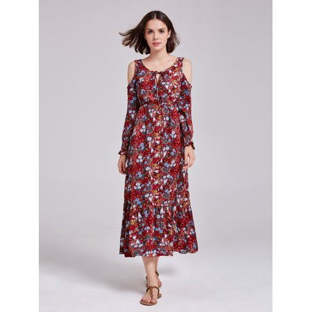 f7e453f9c1 Ever-pretty - Alisa Pan Women' Boho Cold Shoulder Floral Printed Loose Fit Beach  Wear Casual Maxi Sun Dresses for Women 07185 - Walmart.com