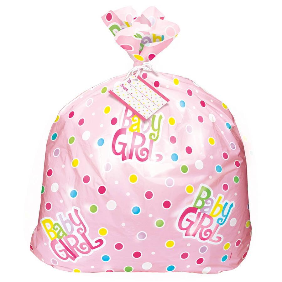 Jumbo Plastic Pink Polka Dots Baby Shower Gift Bag - Walmart.com
