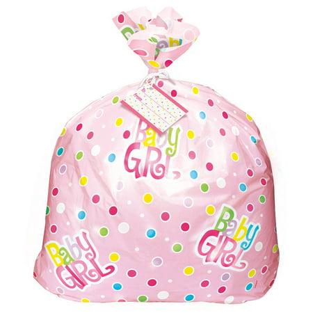 Jumbo Plastic Polka Dot Girl Baby Shower Gift Bag 44 X 36 In Pink