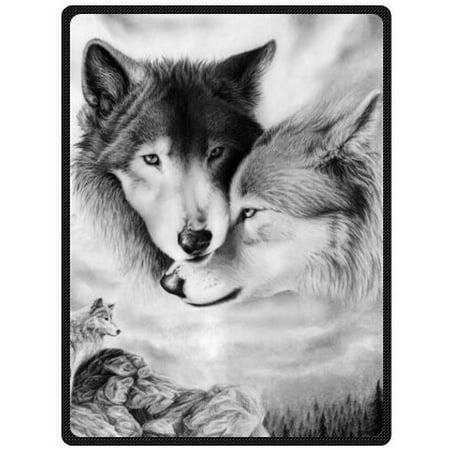 CADecor Blanket Funny White Wolf Fleece Throw Blanket 58x80 inches