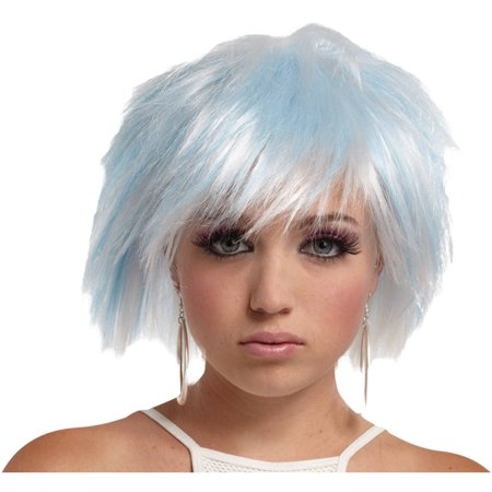 White Blue Punky Pixie Wig Adult Halloween Accessory