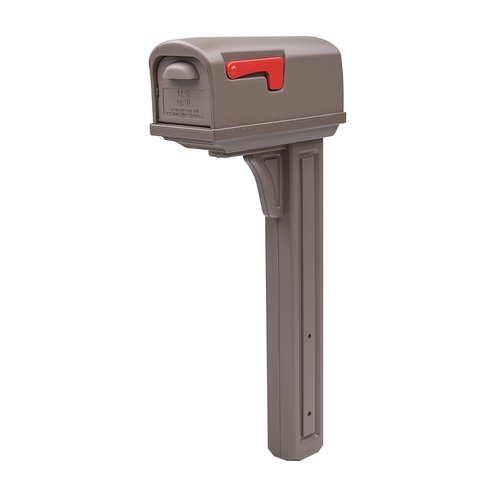 Gibraltar Classic All-in-One, Medium, Plastic, Mocha Mailbox and Post Combo by Solar Group, Inc.