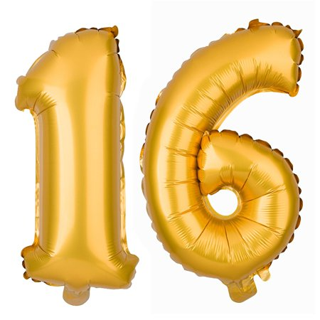 Large 16 Number Balloons for 16th Birthday Party, Decorations & Party Supplies (40 Inch, Gold) - Birthday Numbers