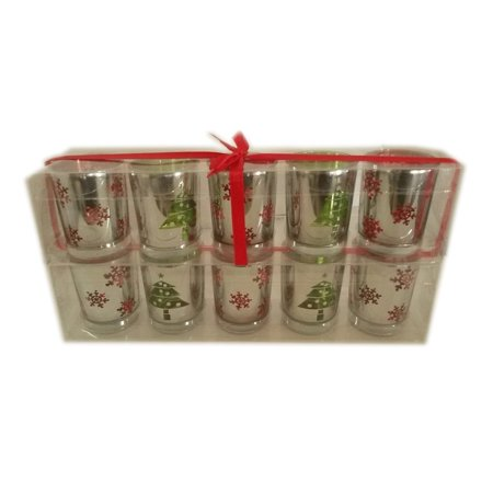 Festive Holiday Mirrored Votive Candle Holders Pack of 10 Votives
