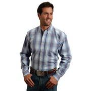 Western Shirt Mens L/S Plaid Button Blue 11-001-0579-0424 BU