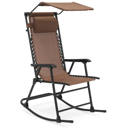 Best Choice Products Outdoor Folding Mesh Zero Gravity Rocking Chair with Attachable Sunshade Canopy and Headrest, Brown