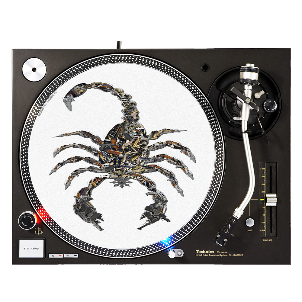 "KuzmarK™ 12"" DJ Turntable Slipmat - Scorpion Guns"