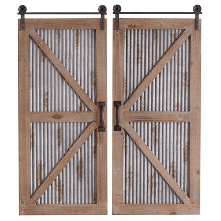 CBK Metal 2 Piece Set Rusted Corrugated Galvanized Barn Door Wall Decor 158713 - Barn Dance Decor