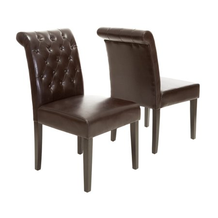 Palermo Tufted Bonded Leather Dining Chair (Set of 2)
