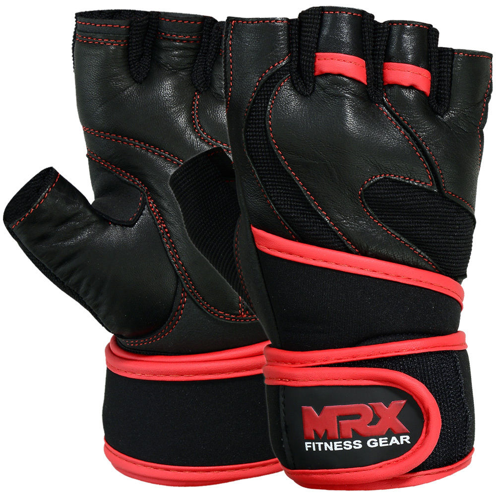 MRX Weight Lifting Gloves Gym Power Training Fitness Bodybuilding Glove Long Wrist Strap Black / Red XS