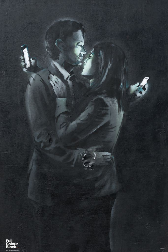 Banksy Mobile Phone Lovers Distracted Urban Graffiti Stencil Spray Paint Artist Art Poster 12x18 by