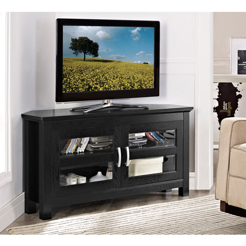 "Wood Corner Media Storage Console TV Stand for TVs up to 50"", Multiple Finishes"