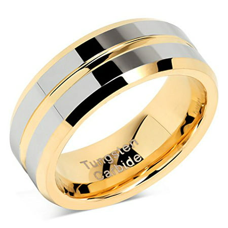 Tungsten Rings for Mens Wedding Bands Gold Silver Two Tone Grooved Center Line Size 8-16 Flat Grooved Wedding Ring