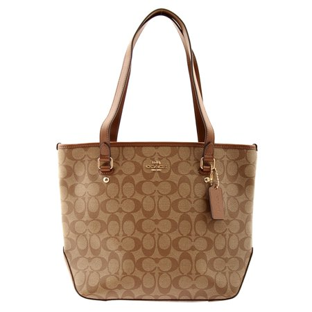 COACH Zip Top Tote Signature Leather Shoulder Bag in Khak