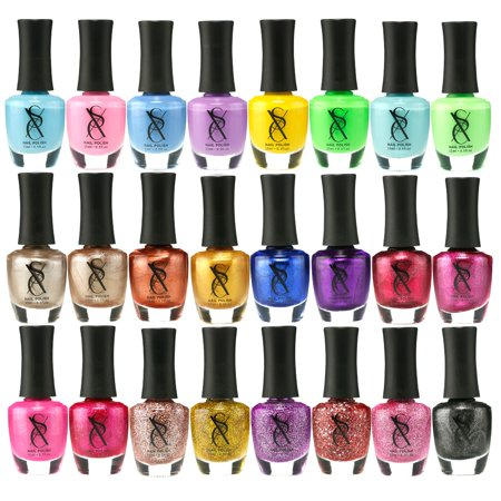 SXC 24 Colors Nail Polish Set of (Metallic, Neon, Pastel, Glitter, Pink & -