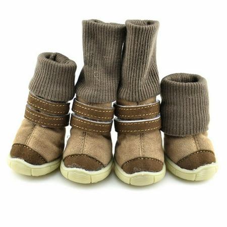 4PCS Pet Dog Shoes Mesh Boots for Snow Rain Reflective Anti-slip Lewis Dog Boots
